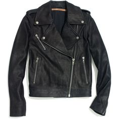 MADEWELL Won Hundred® Leather Dash Moto Jacket ($553) ❤ liked on Polyvore featuring outerwear, jackets, tops, coats & jackets, true black, leather moto jacket, biker jackets, rider jacket, motorcycle jacket and madewell
