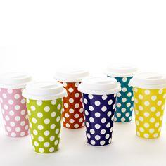 Polka-dot Travel Mugs $10