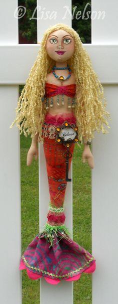 Original Prim Boho Mermaid Cloth Folk Art by BucksCountyDesigns, $115.00