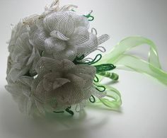 Green Spring white and gold French Beaded por BeadFloraJewels, $719.00