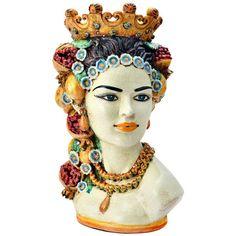 Sicily & More Home Sicilian Fruit Queen Ceramic Moor's Head featuring polyvore home home decor multicolor traditional home decor fruit home decor handmade home decor ceramic home decor colorful home decor