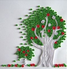 apple tree;  quilling