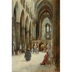 Greater Abbeys of England 1908 Westminster Abbey nave & choir Canvas Art - Warwick Goble (18 x 24)