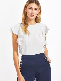 Cheap ruffle sleeve blouse, Buy Quality blouse women white directly from China blouse fashion Suppliers: Sheinside Ruffle Sleeve Blouses Women White O Neck Elegant Summer Tops 2017 New Fashion Slim OL Clothing Brief Casual Blouse Formal Attire For Women, Casual Attire, Blouse Peplum, Trendy Outfits, Fashion Outfits, Women's Fashion, Fashion Women, Fashion Sale, Fashion Black