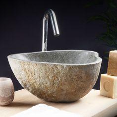 Tikamoon Black Basalt Stone Sink Washbasin Modern Design Bathroom Natural