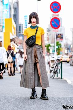 tokyo-fashion - ohne Titel - tokyo-fashion Japanese student Kairi on the street in Harajuku wearing a Zara top with layered plaid shorts and skirt from Jouetie, Dr. Martens boots, and an Oh Pearl crossbody bag. Full Look - Tokyo Street Fashion, Tokyo Street Style, Japanese Street Fashion, Japan Fashion, Korean Fashion, Tokyo Style, Japan Style, London Street, India Fashion