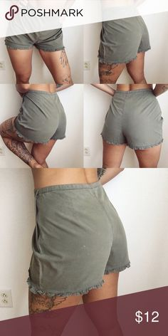 Army green highwaist shorts Comfy adorable highwaist shorts, flaws as shown! Size is 14! Shorts