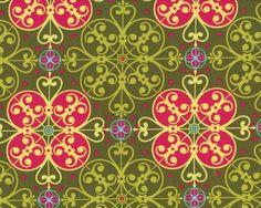 """Patchworkstoff \""""Mezzanines\"""" mit geometrischen Blüten-Ornamenten, dunkles moosgrün-pink"""