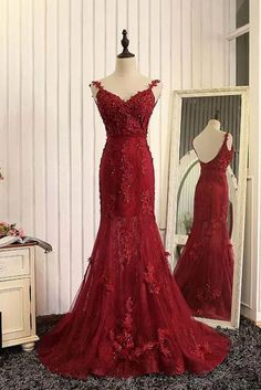 Charming Prom Dress,Sexy Red Prom Dress,Long Prom Dresses,Mermaid