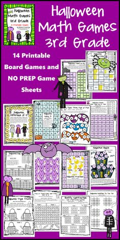 Halloween Math Games Third Grade by Games 4 Learning for bringing some Halloween fun into the classroom - This is a collection of Halloween math games contains 14 printable games. $