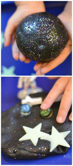 GALAXY DOUGH: a super smooth, ultra sparkly, & REALLY stretchy play material for kids. This no cook recipe takes seconds to make & is SO FUN! My kids played for hours!