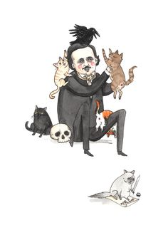 "Once Upon a Midnight Kitty - 5x7"" Edgar Allan Poe with CATS print!"