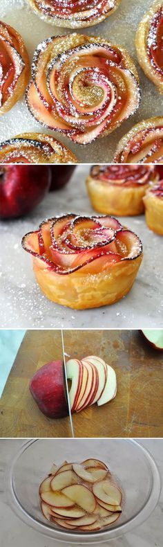 Apple tart roses...used pie crust instead of puff pastry. Took a while to bake but very yummy served with vanilla bean ice cream and homemade salted caramel