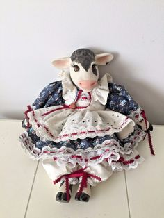 Vintage Handpainted Porcelain Cow Doll / Farmhouse / Country Primitive