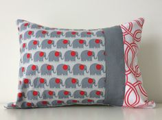 Kids Elephant Pillow Cover, Lumbar Pillow, 12x16 Inches, Nursery, Grey, Red, White, Kids Room Decor, Contemporary, Gender Neutral Pillow by BlackcatmeowDesigns on Etsy