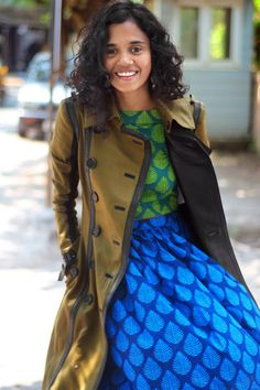 colorful prints under Trench coat | TANIA FADTE