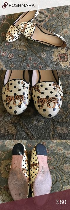 Loeffler Randall Flats Loeffler Randall Flats with tiger and polka dot print. Snakeskin texture shoe. In good condition, a little scuffed in front toe but design covers it. Comes with original box. Size 7.5 Loeffler Randall Shoes Flats & Loafers