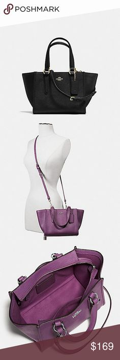 """COACH CROSSGRAIN LEATHER CROSSBODY Crossgrain leather Inside zip and multifunction pockets Zip-top closure, fabric lining Handles with 5"""" drop Detachable strap with 22"""" drop for shoulder or crossbody wear Coach Bags Crossbody Bags"""
