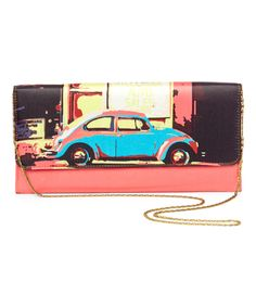Look at this Bagnology Blue Car Long Clutch on today! Vw Vintage, Vintage Prints, Red Beetle, Beetle Bug, Vw Accessories, Bug Car, Vw Classic, Shades Of Turquoise, Vw Bus