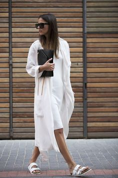 white on white bag from Saint Laurent, dress and trench coat both from Zara, sunglasses from & Other Stories