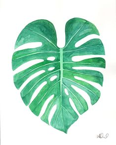 "Monstera Leaf, Original Watercolor Painting, 5"" x 7"" or 8"" x 10"", Ready to Frame, Illustration Artwork Palm Botanical Plant"