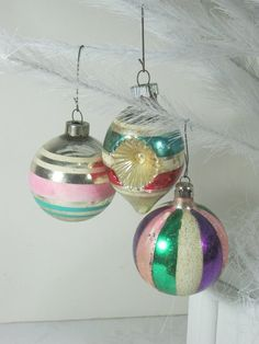 Vintage 40's Mercury Glass Ornaments Glitter & Stripes Mixed Colors  by LavenderGardenCottag