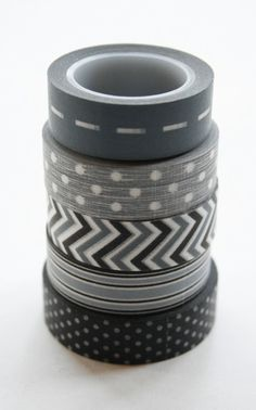 Washi Tape Set - - Combination AV - Grey and Black - Five Rolls Washi Tape Washi Tape Set, Masking Tape, Creeper Minecraft, Bujo Inspiration, Planner 2018, Stationary Supplies, Duct Tape Crafts, Scotch, Cute School Supplies
