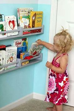 Ikea book Shelves - might go perfect along the upper wall of a kids loft bed