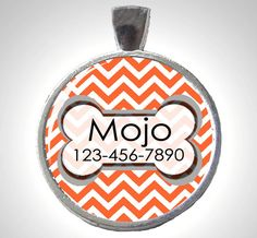 Dog ID Tag in Black and White Chevron ZigZag - Asst. Colors. $8.95, via Etsy.