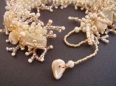 Seed bead bracelet beadweaved bracelet pearl by CHARMATIONS