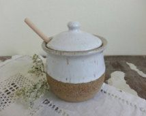 Honey pot with dipper and lid: White & Natural partially unglazed stoneware