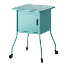 IKEA VETTRE Bedside table Turquoise cm Inside there is room for an extension socket for your chargers. Table Turquoise, Turquoise Furniture, Bedside Table Ikea, Metal Nightstand, Ikea Table, Design Ikea, Ikea Shopping, My Home Design, Dorm Rooms Decorating