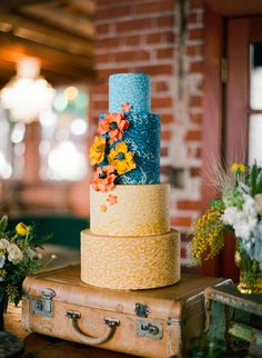 Wedding Cake - Yellow & Blue - Rustic Chic Wedding -  More Wedding Inspiration here: http://www.StyleMePretty.com/2013/06/21/van-gogh-inspired-shoot-from-orange-blossom-special-events-birds-of-a-feather/ Photography: BirdsOfAFeatherPhoto.com