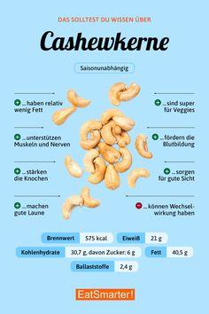 Das solltest du über Cashewkerne wissen | eatsmarter.de #cashew #nüsse #infografik