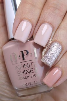 "On pointer and middle is OPI Infinite Shine ""No Strings Attached"", on ring finger is OPI ""Ce-less-tial is More"", and on pinkie and thumb is OPI Infinite Shine ""Hurry Up & Wait""."