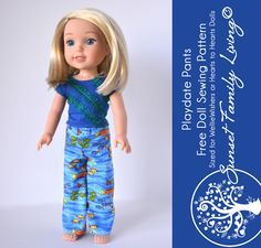Playdate Pants   Free Doll Sewing Pattern   WellieWishers Pattern   American Girl   Hearts to Hearts Dolls