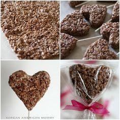 Chocolate Rice Krispy Treat Heart Pops