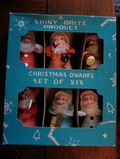 Shiny Brite Christmas Dwarfs in box... I dream about finding this at an estate or yard sale!