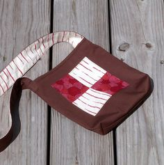 Nature Walk Bag or Kids Messenger Bag, Handprinted Red and White Fabric with Brown by LilaKids, $20.00.  Free US Shipping.