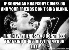 Yeah right, as if there's a person alive that doesn't… Bohemian Rhapsody. Yeah right, as if there's a person alive that doesn't sing along! Freddie Mercury Quotes, Queen Freddie Mercury, John Deacon, Galileo Galileo, Bryan May, Rainha Do Rock, Queen Meme, Finding New Friends, Real Friends