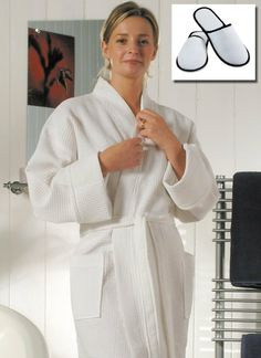 8d44f9ec5b High Quality Waffle Style White Towelling Ladies Bathrobe Spa Day