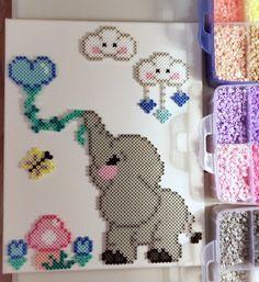 Love this fun perler bead elephant wall art!