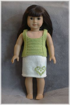 American Girl - Ribbed Tank Top and Skirt (knitting pattern) by Purl Knit Designs on Etsy