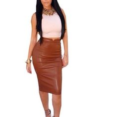 Amrezy leather skirt naked Wardrobe Misguided as pictured in side material as pictured. Bodycon Naked Wardrobe Skirts Midi