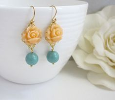 Peach Rose Earrings. Spring Summer with Jade Green Drops Floral Ear Accessory. Swarovski Pearl, Lead Free Ear Jewelry