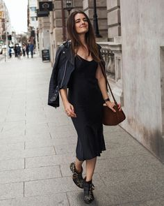 black silk slip dress street style fashion Chloe Susanna boots See Instagram photos and videos from Style & Travel - Jenelle Witty (@inspiringwit)