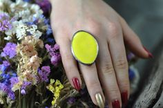 big ring yellow ceramic ring ring statement ring by zolanna