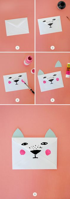 DIY Animal Envelopes. perfect for filling with candy hearts for your Valentine!