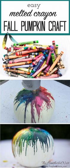 SUCH a fun, easy fall pumpkin craft idea! They are so colorful! Melted crayon pumpkins!! Easy how to in this post from heatherednest.com