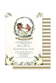 A winter wedding invitation with foxes and a striped back | Brides.com